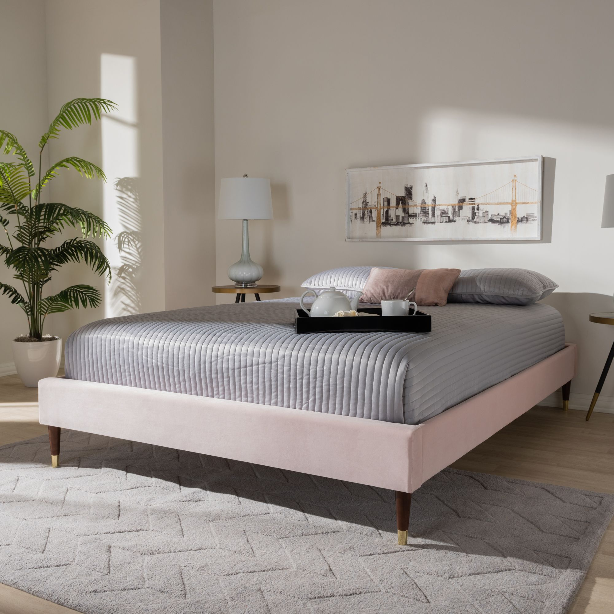 Baxton Studio Volden Glam and Luxe Light Pink Velvet