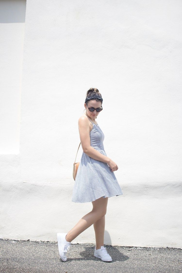 Easy Minimalist Summer Look With A Fit And Flare Dress And White Sneakers Fit Flare Dress Flare Dress Dress With Sneakers [ 1125 x 750 Pixel ]