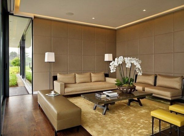 padded-wall-panels-brown-beige-gold-tones-living-room-parlour - wohnzimmer beige gold