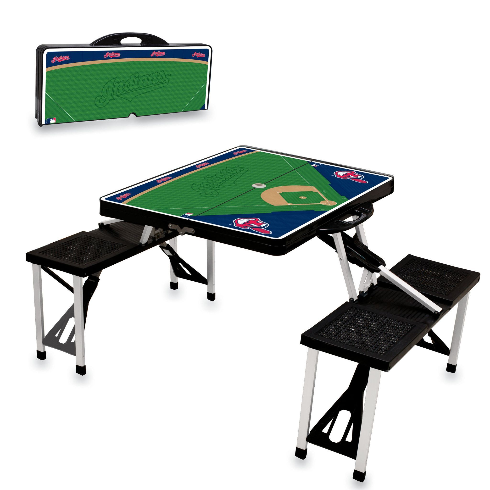 Folding legs pool table for sale - Cleveland Indians Folding Picnic Table By Picnic Time