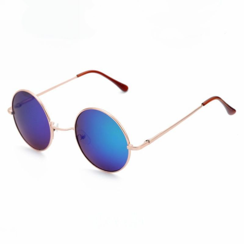 Round Mirrored Green Gold-Tone Metal Frame Sunglasses