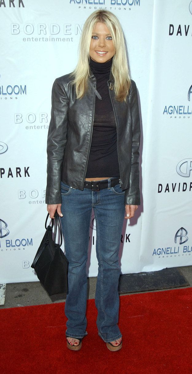 Tara Reids leather blazer over a turtleneck with matching belt  what are u talking about shes rocking it
