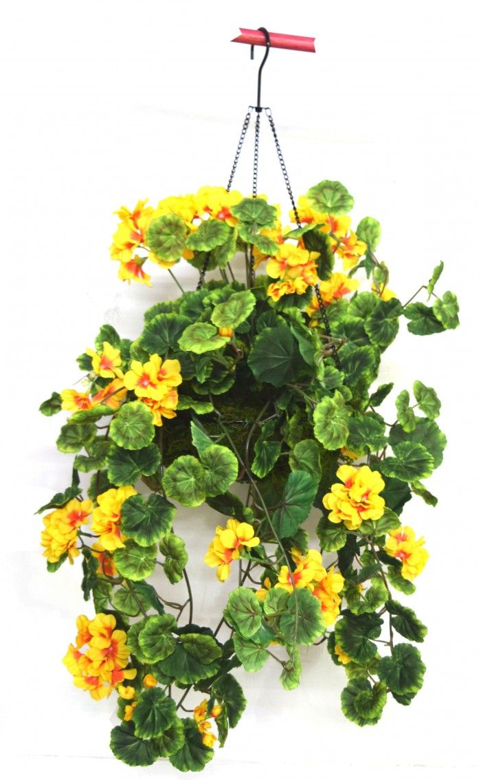 Artificial Flower Baskets Online : Cm tall geranium hanging basket decorative artificial