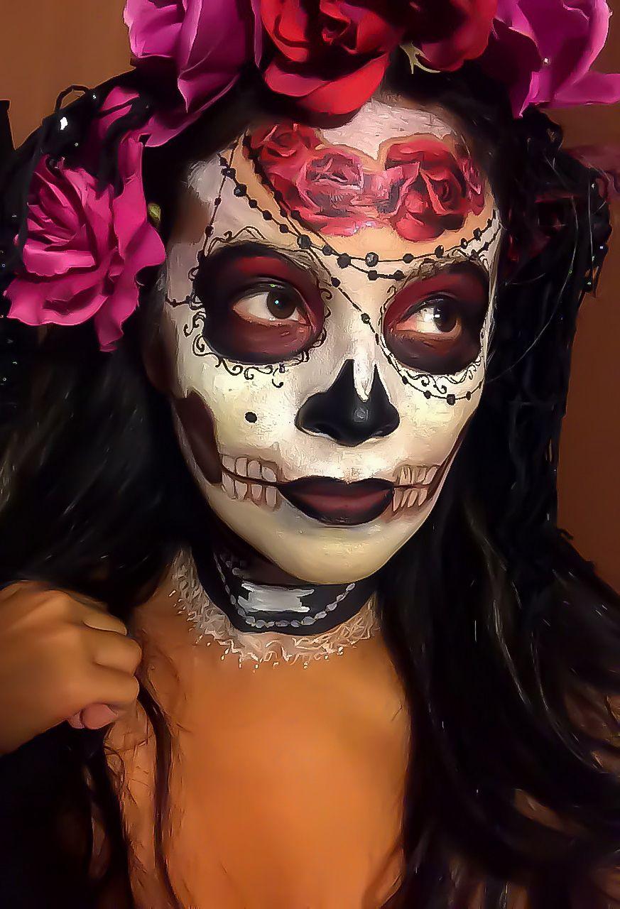 Those roses! Sugar skull makeup, Sugar skull face, Sugar