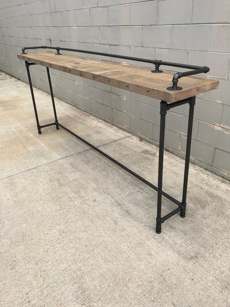 Rustic Gray Reclaimed Barn Wood Sofa Bar Table 6 Foot With