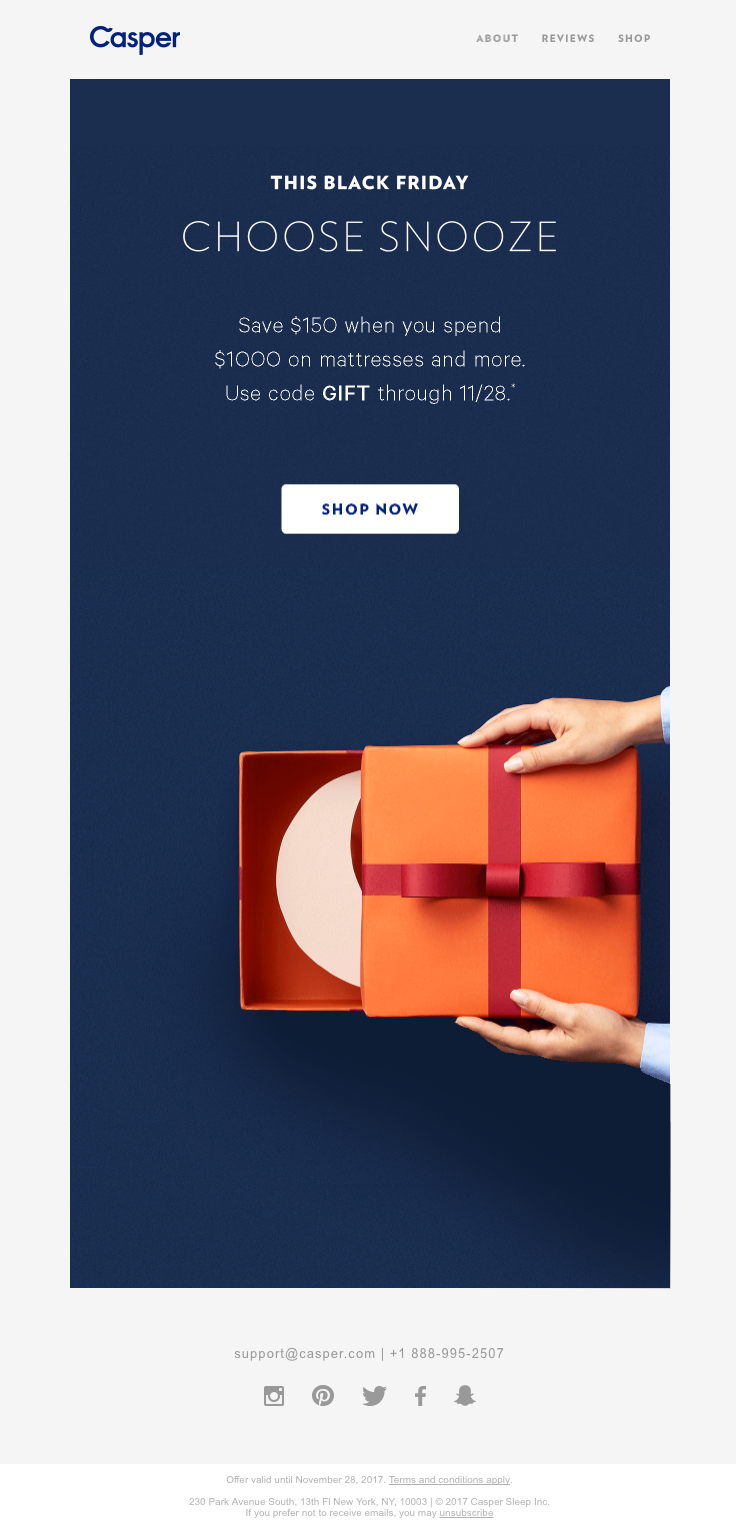 Caspersleep Sent This Email With The Subject Line Every Friday Is Black Friday When Your Eyes Are Closed Beca Email Design Black Friday Email Holiday Emails