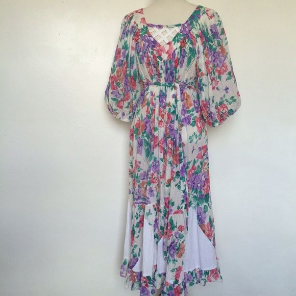 Vintage Cotton Gauzy Tent Dress Boho Festival Pretty light and airy 100% cotton! Has a matching sash and looks cute open as a tent dress or belted for a more defined waist. Adorable lattice detail at chest  elastic at cuffs of the full sleeves. • Perfect boho dress in perfect condition! Ropa of California Dresses Midi
