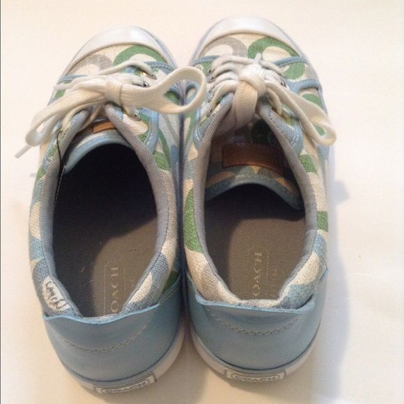 REDUCED *🎉🎉AUTH COACH SIGNATURE shoes Barrett. NEW COACH SIGNATURE 1358 tennis shoes 6.5 Barrett Blue Green  These are brand new 100% authentic COACH SHOES.  C's are green blue and tan. Shoe is trimmed in light blue and white Coach Shoes