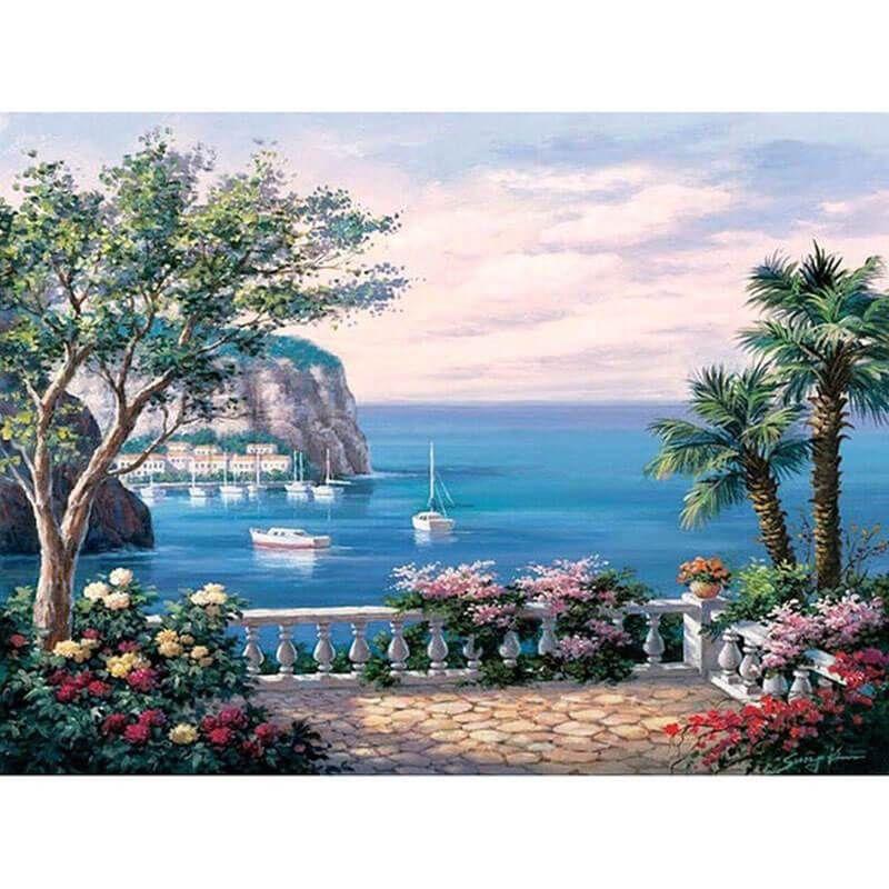 Malen Nach Zahlen See Im Sommer Mediterrane Gemalde Diy Malen Nach Zahlen Schone Gemalde