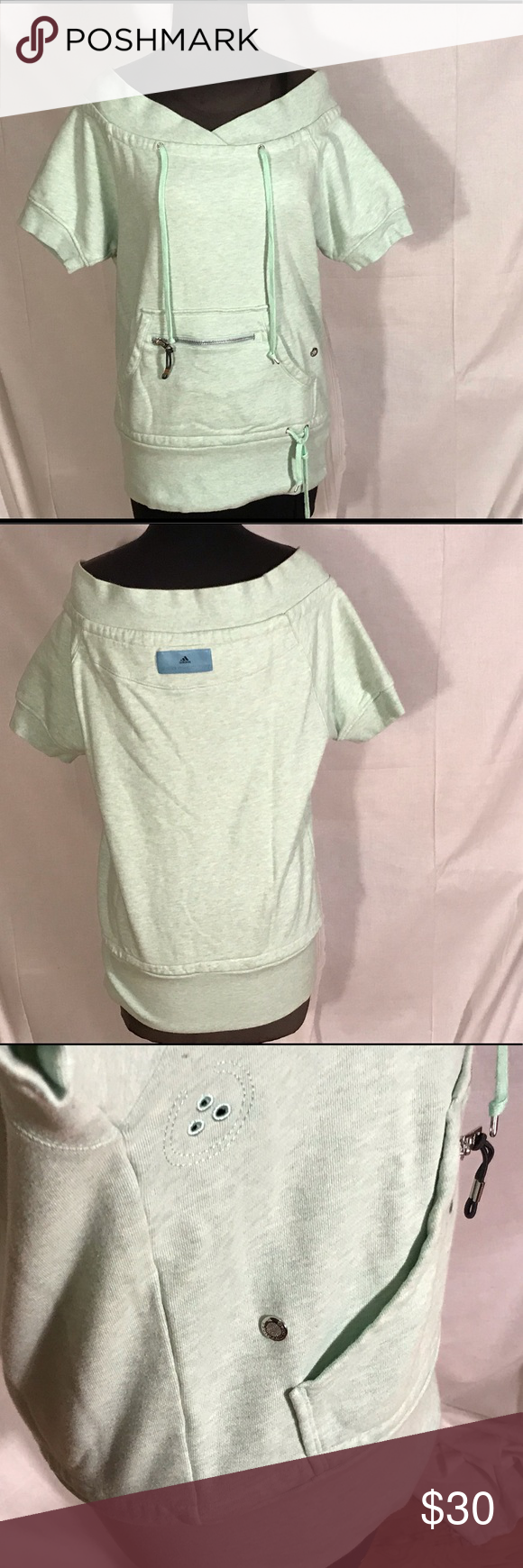 0b7f7abaf7648 Off the shoulder soft mint colored sweatshirt with logo. Size small Adidas  by Stella McCartney Tops Sweatshirts   Hoodies
