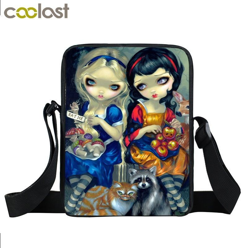 98a699407fa8 Cartoon Gothic Girl Mini Messenger Bag Women Handbags Girls Travel Bags  Kids School Bags Punk Ladies