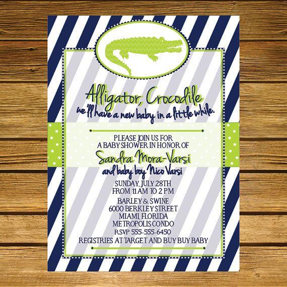 alligatorthemed baby shower invitation navy by liliesofthefields,