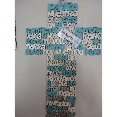 Recuerdos De Bautizo Cruz De Madera.Cruz De Madera Mdf Corte Laser Ave Maria Padre Nuestro Angel