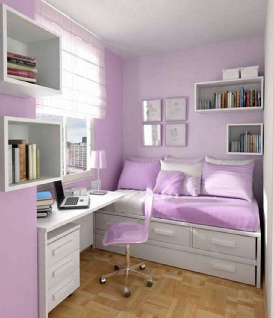 attractive Teenage Small Bedroom Part - 19: ... Purple Bedding Set Connected With White Desk Also Floating White Book  Shelves On The Purple Wall of Gorgeous Small Bedroom Decorating Ideas For  Teenage ...