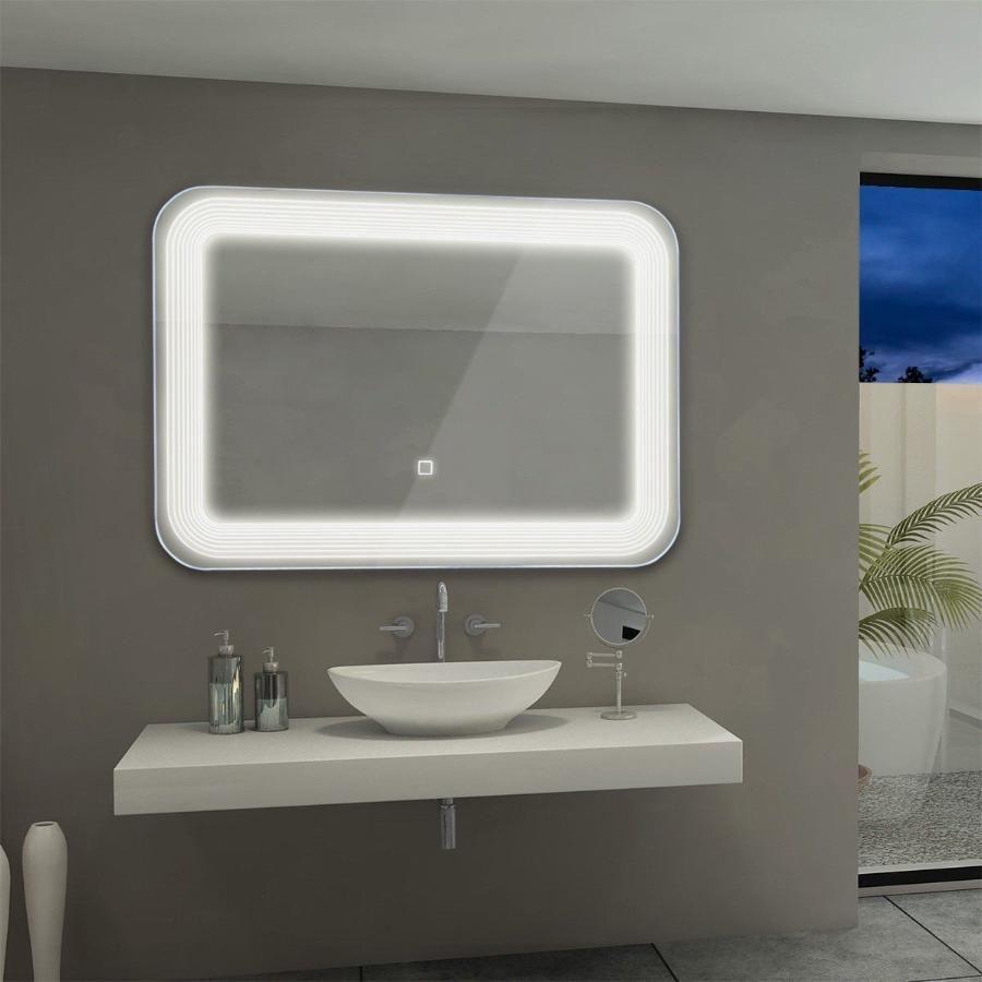 Bathroom Wall LED Bath Mirror Illuminated Lighted Vanity Mirror w//Touch Button