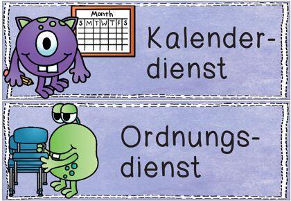 Ordnungsdienst klassenzimmer  Klassendienste im Monsterdesign vom Zaubereinmaleins - DesignBlog ...