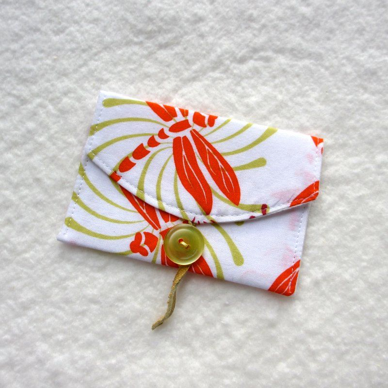Business Card Case, Dragonfly, Orange Lime Green | Business card ...