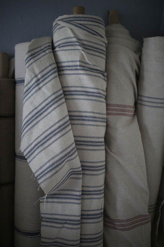 Grain Sack Fabric by the Yard  Navy 4 Stripe  Fabrics