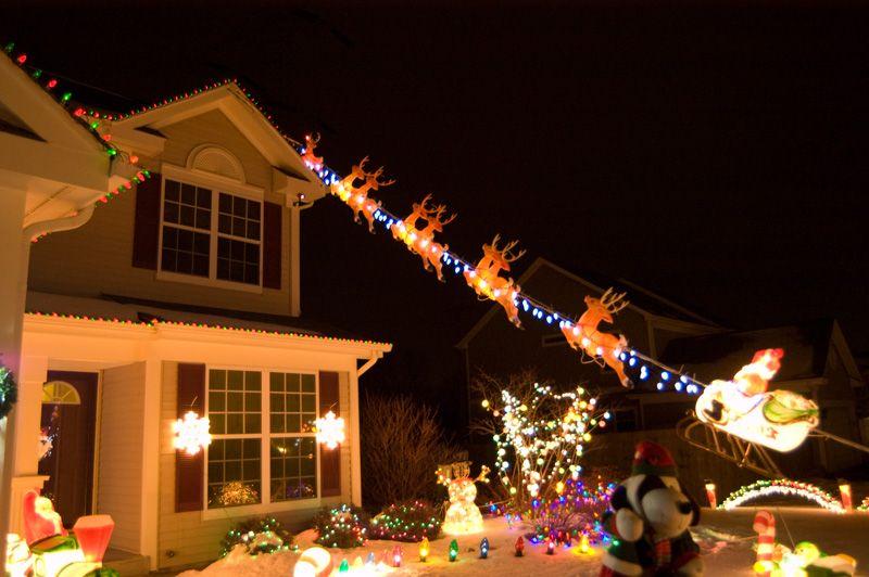 Flying Santa Mounting Diy Do It Yourself Reindeer Outdoor Decorations Christmas Light Displays Outdoor Christmas Decorations