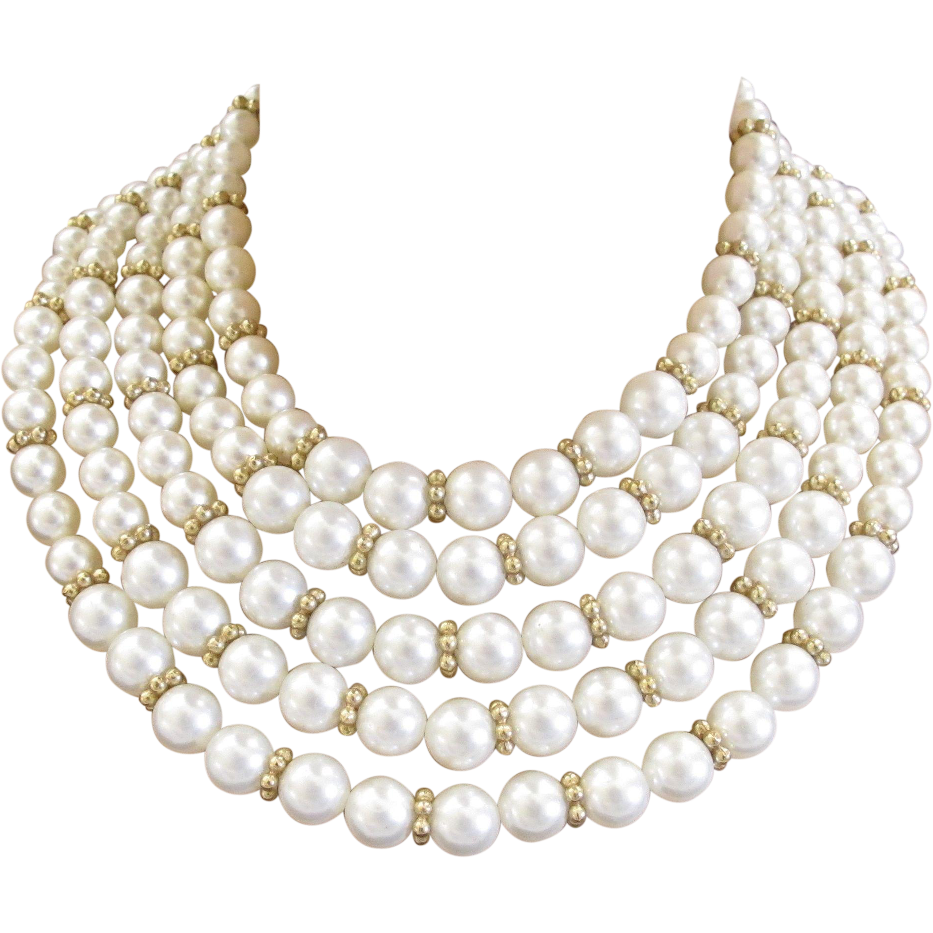 vintage pearl necklace tone with faux condition excellent clasp gold product white