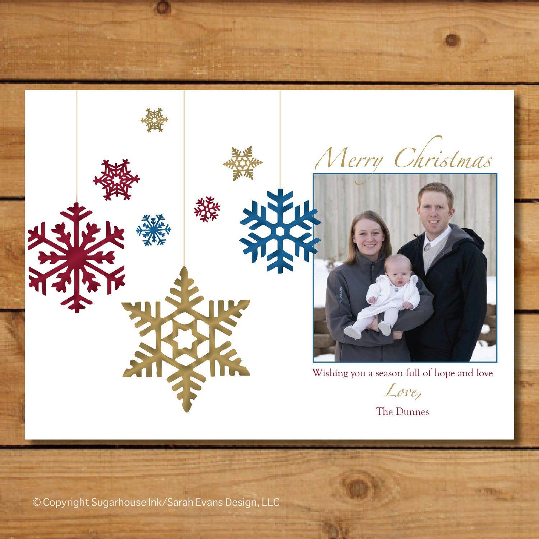 Custom holiday photo card snowflake ornaments by