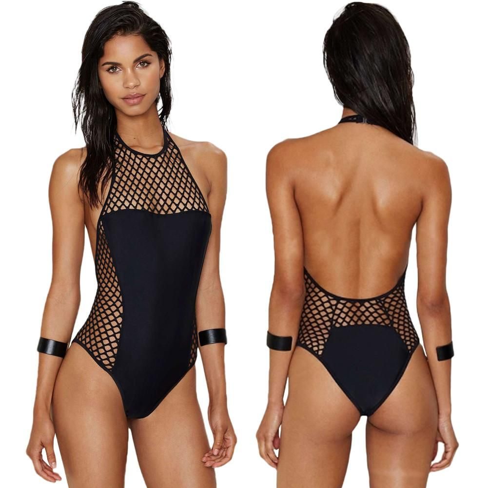 Motivated Sexy 2019 Ladies Mesh Polka Dot Thong Swimwear Women One Piece Swimsuit Female See Through Transparent Cut Out Monokini Trikini Sports & Entertainment