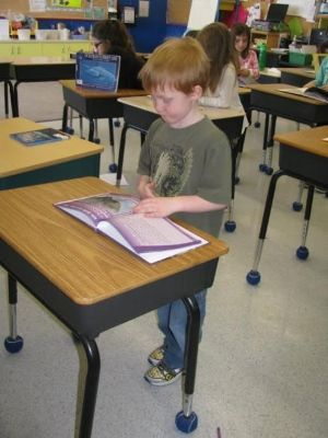 Grade 1 students benefit from standup desks teacher says