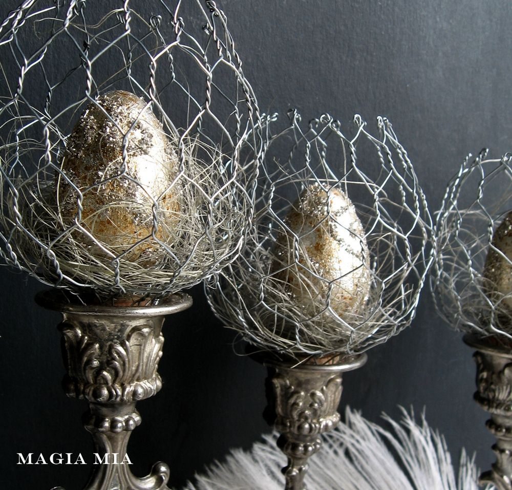 Magia Mia: Chicken Wire Candelabra Candle Cup Nests Silver Easter ...