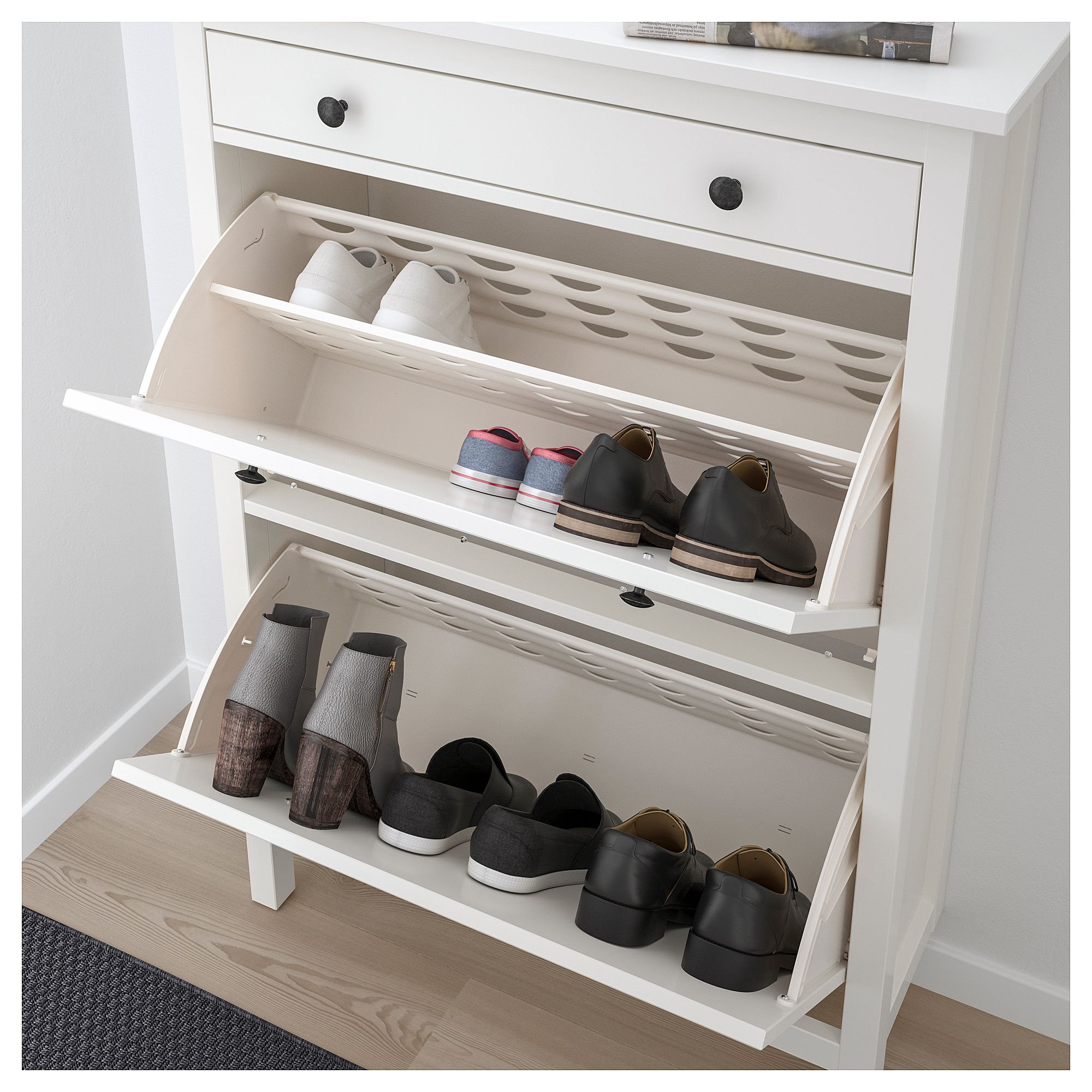 hemnes shoe cabinet with 2 compartments white in 2019. Black Bedroom Furniture Sets. Home Design Ideas