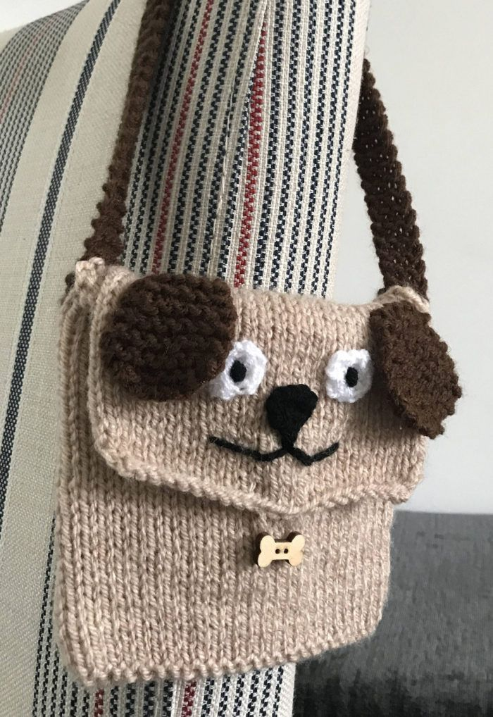 Knitting Pattern for Puppy Purse - Dog bag is knit flat and the ...