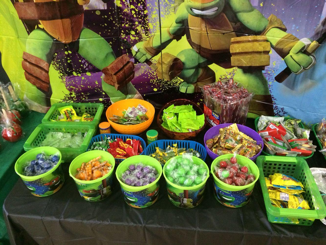 Ninja Turtle Candy Table Ninja Turtles Birthday Party Tmnt Birthday Ninja Turtle Birthday