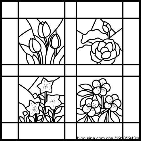 【影子手绘】玻璃彩绘28四季之花壁饰图纸