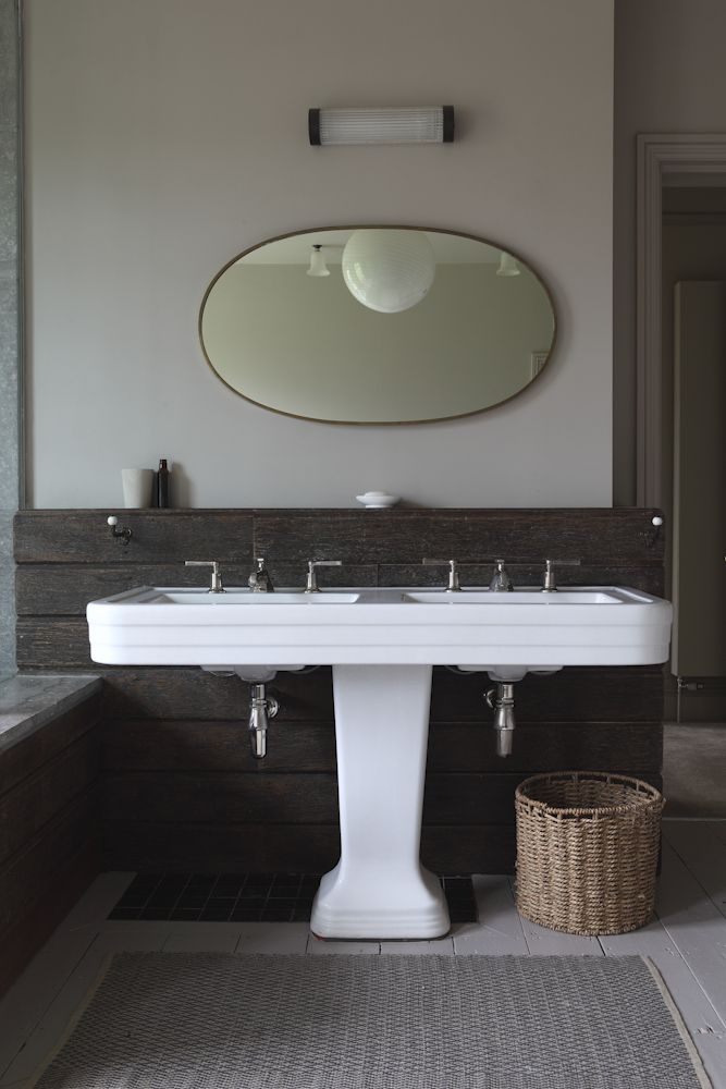 Beautiful Double Pedestal Sink And Oval Mirror Retrouvius