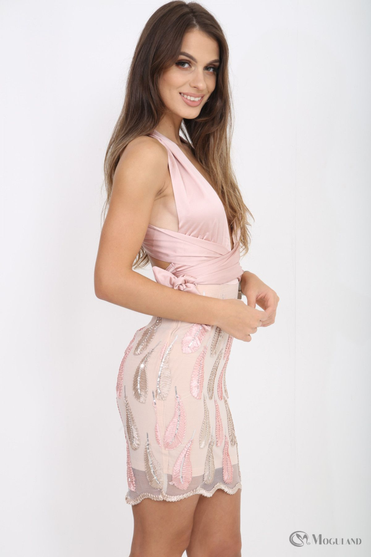 b121998acc Ladies pink satin halterneck feather embroidered dress wholesale - Women s  Wholesale Clothing Supplier