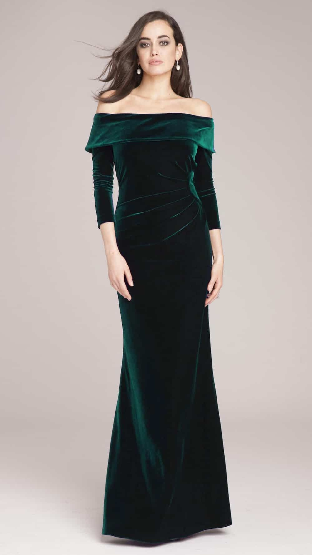 fa08f233f66 Off the Shoulder Emerald Green Velvet Gown in 2019
