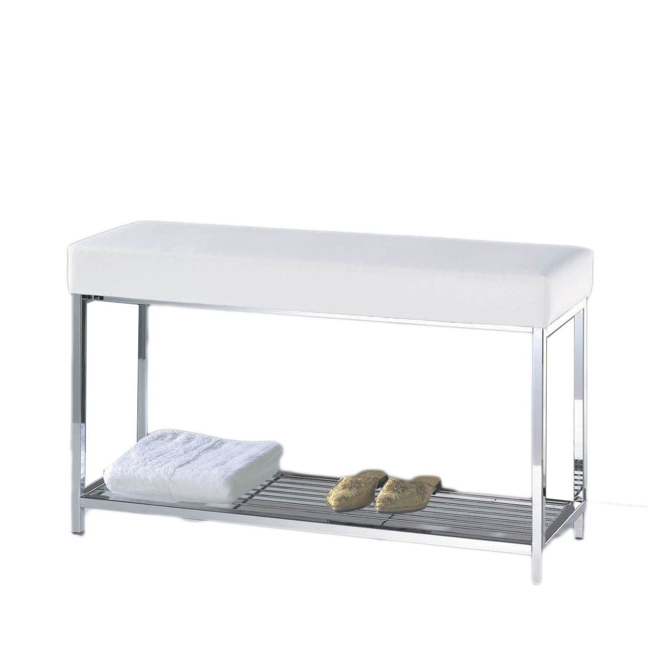 Harmony 8 Bench with Shelf in Chrome with Black or White Top