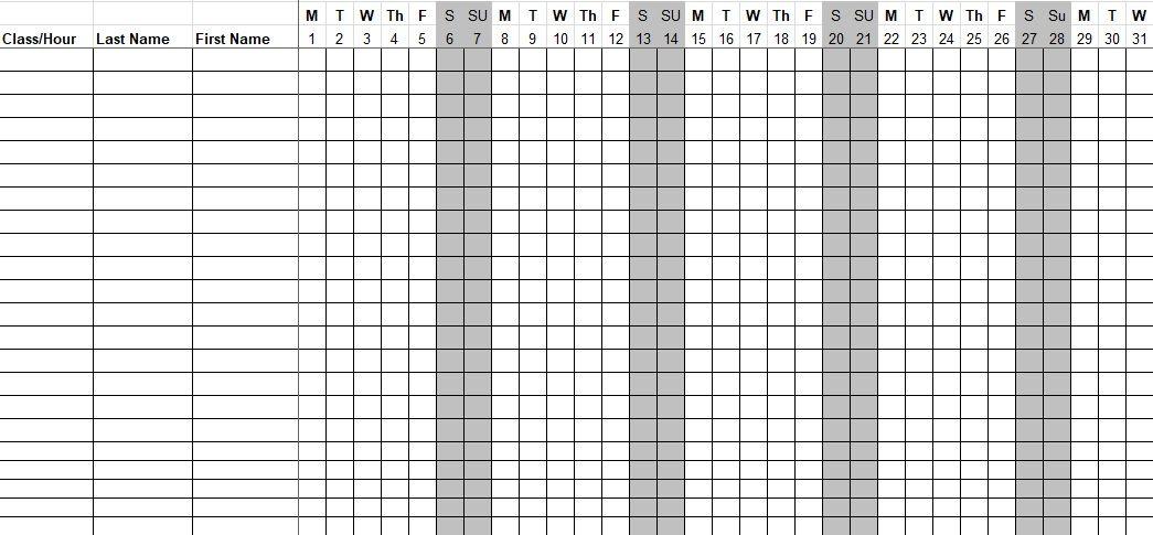 Employee Monthly Attendance Sheet Xls Download Attendance Sheet Attendance Sheet Template Employee Attendance Sheet Template