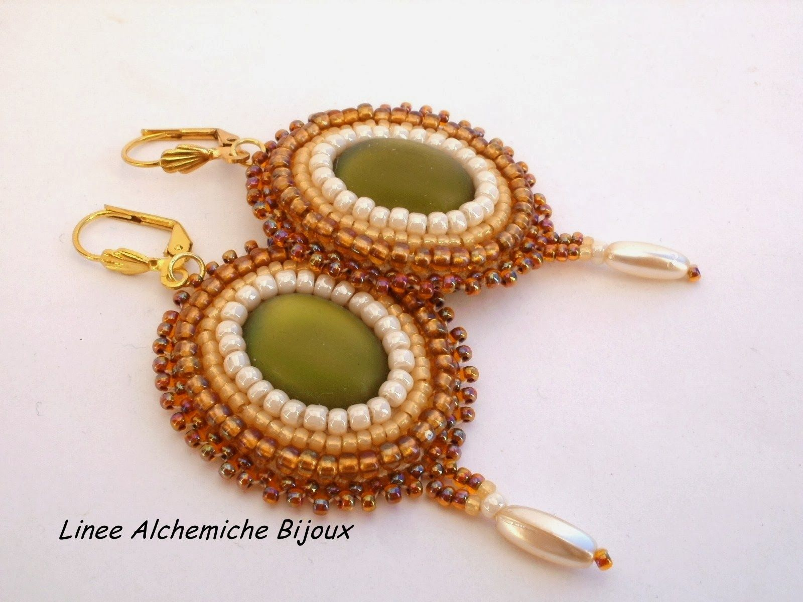 earrings with luna soft cabochons