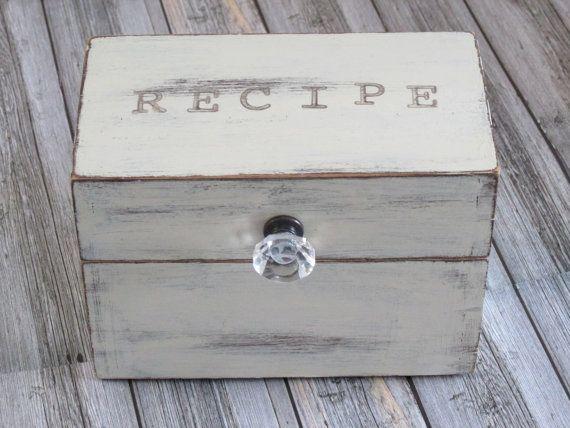 white shabby chic recipe box farmhouse white distress vintage wood rh pinterest com