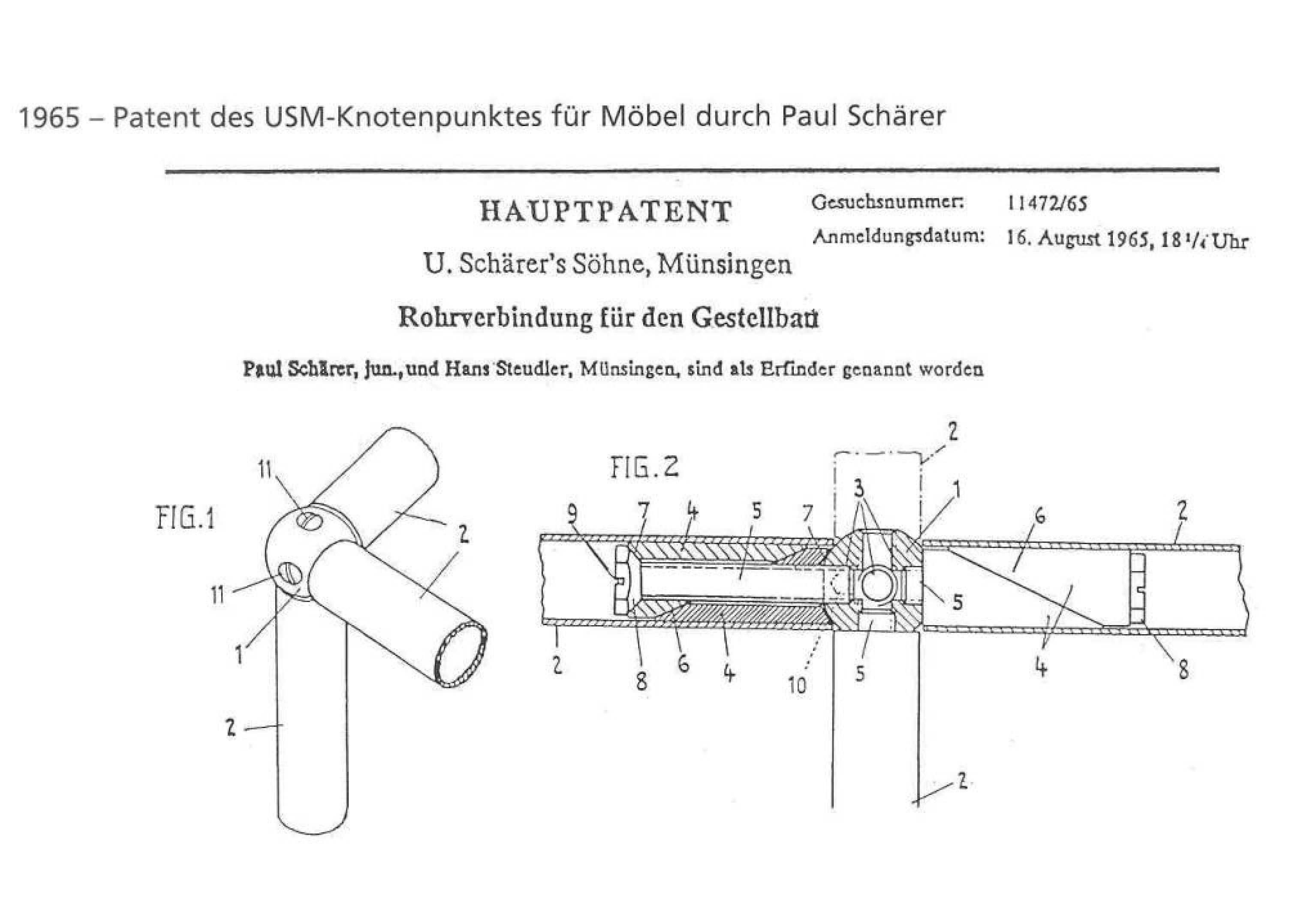M&m Büromöbel Express Gmbh Berlin The Patent For The Core Of Usm Modular Furniture Haller In 1965 Usm