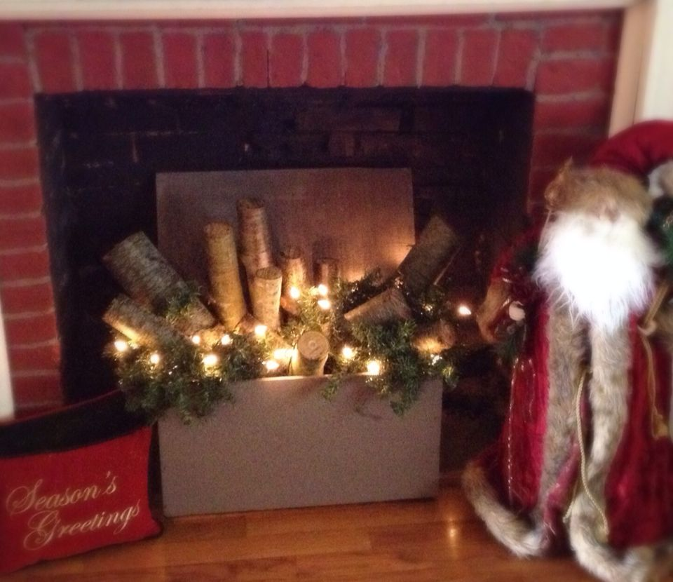 Excellent way to fill an unused fireplace.   Christmas ...
