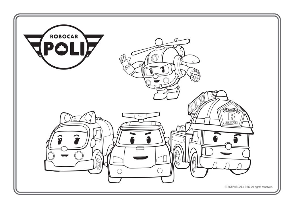 Rp Corloring E06 Jpg 1024 724 Robocar Poli Kids Coloring Books Coloring Pages For Kids
