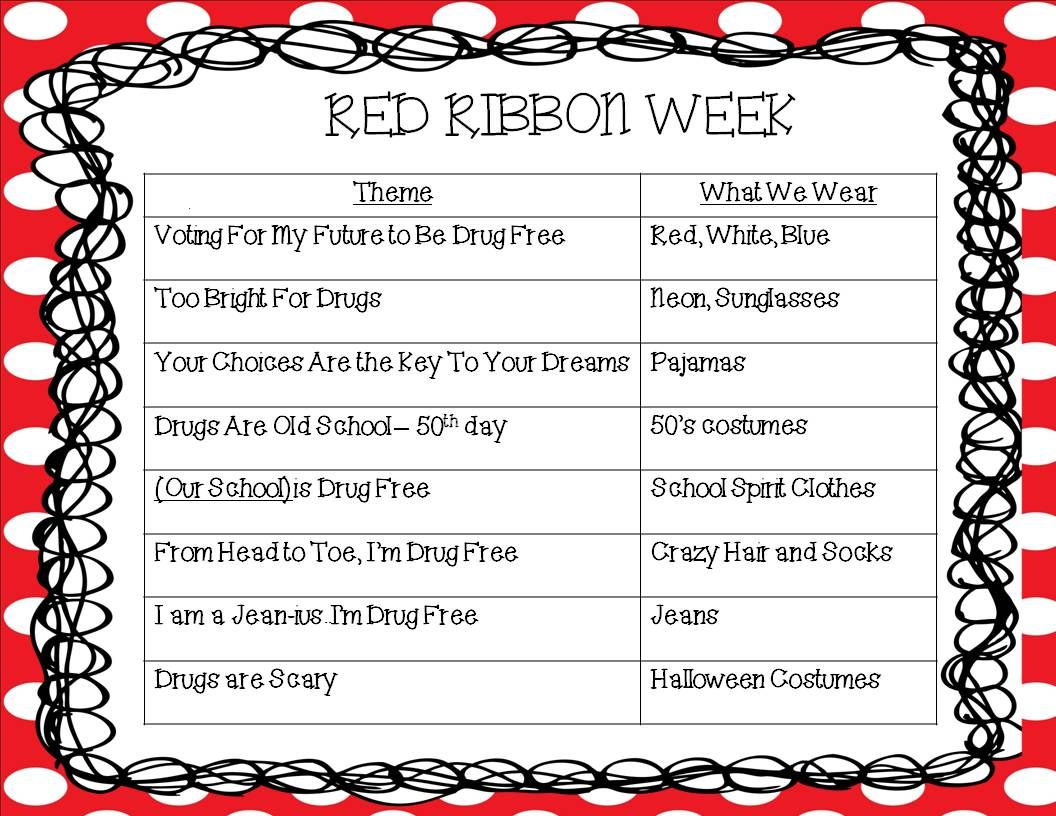 Kindergarten Korner Red Ribbon Week