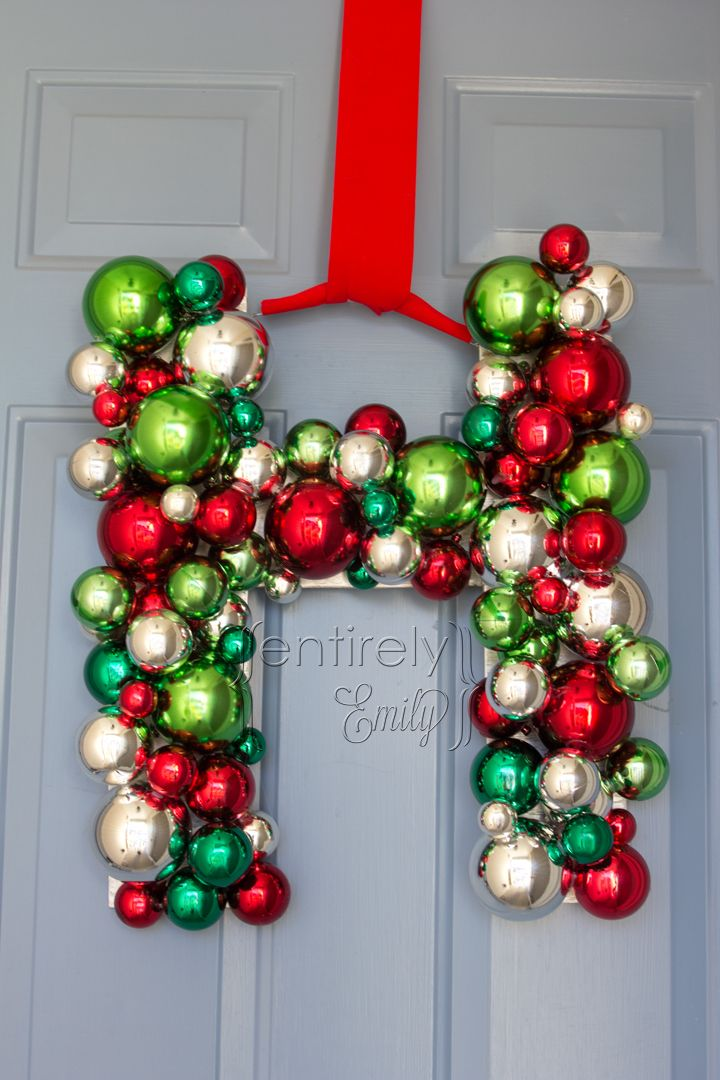 Christmas Wreaths With Initials Our Family Initial On The Front Door For Christmas