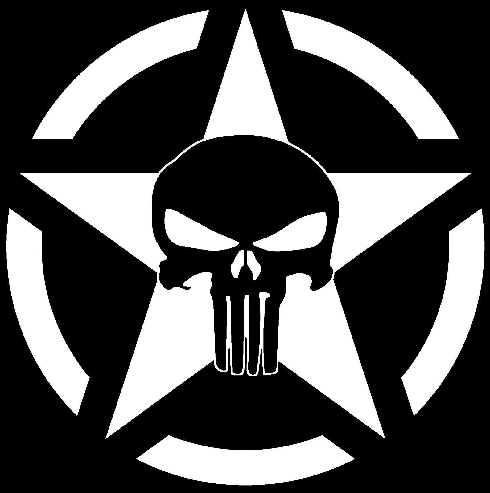Military star jeep punisher skull decal vinyl sticker wrangler rubicon xj army ebay