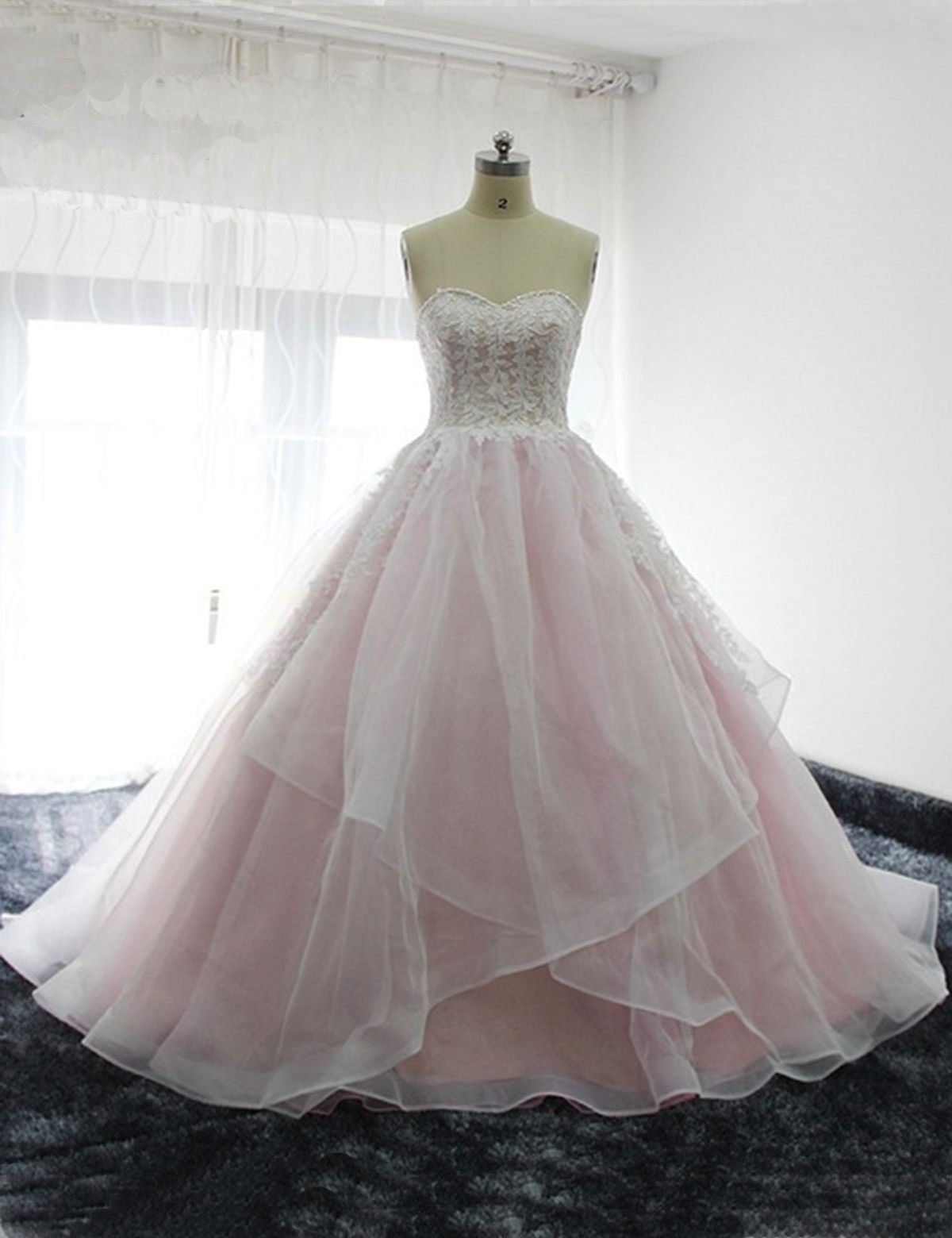 sweetheart baby pink long tulle prom beauty secret