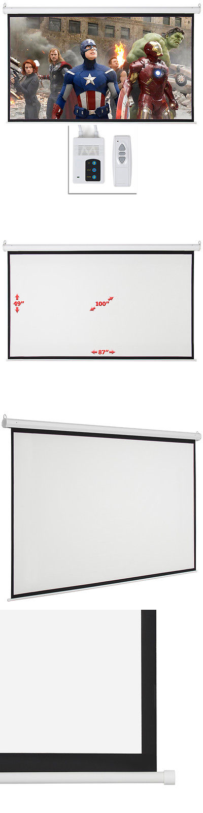 """Projection Screens and Material: New 100"""" 16:9 Hd Foldable Electric Motorized Projector Screen + Remote Control -> BUY IT NOW ONLY: $63.97 on eBay!"""