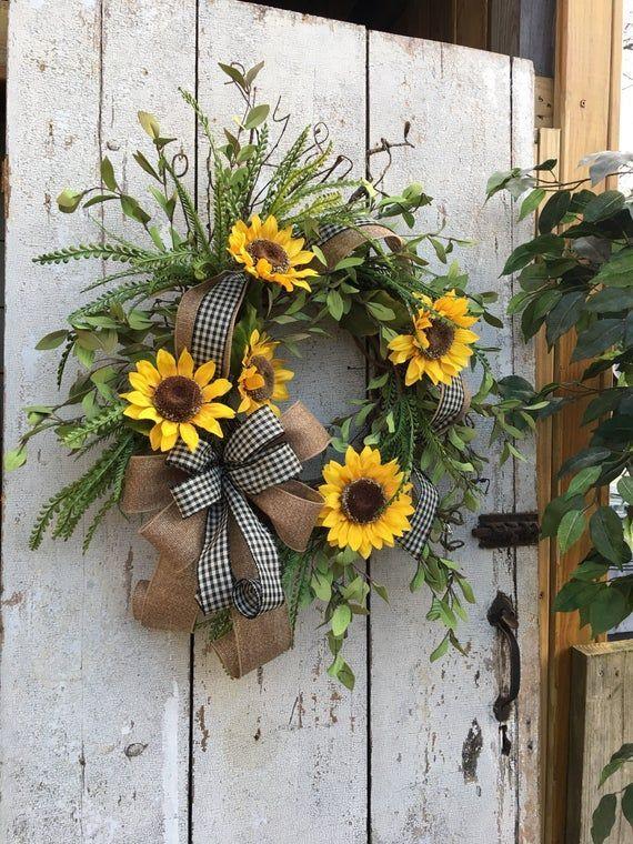 Photo of Best seller Sunflower wreath, Summer wreaths for front door, Double door wreath, Year round w…