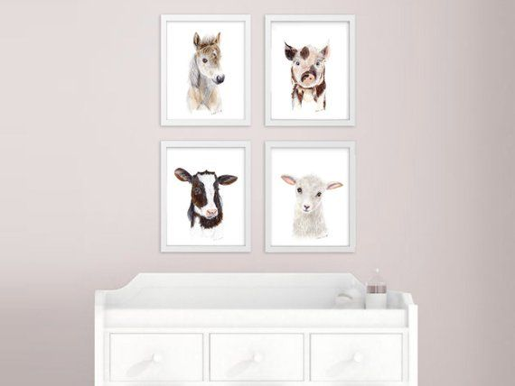 Baby Animal Prints Farm Nursery Art Print Set Animals For