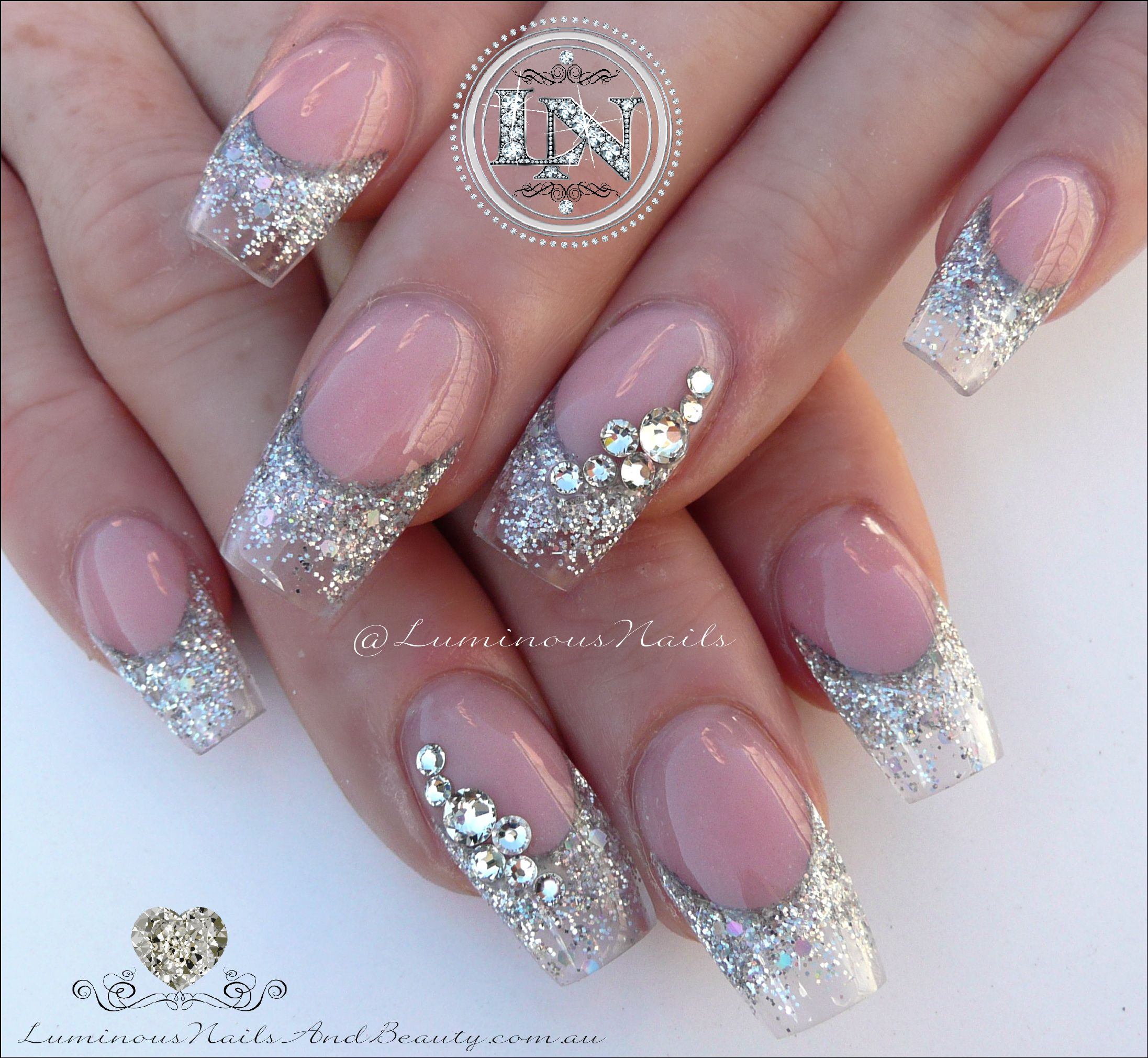 Bridal Nails, Clear/Transparent & Silver with Swarovski Crystals ...